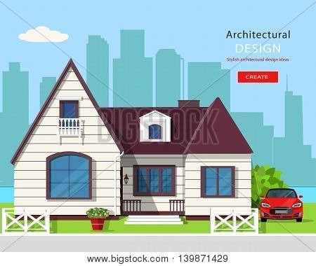 Modern graphic architectural design. Colorful set: house, car, yard, flowers and trees. Flat style vector illustration.