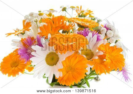 Bouquet of daisies, cornflowers, calendula  on a white background.