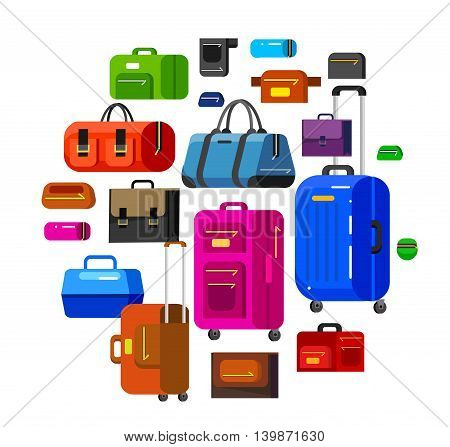 Travel bags in various colors. Luggage suitcase isolated on white background