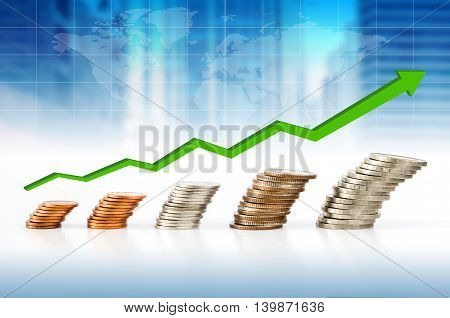 Business Concept, Coin Stacks With Financial Graph And World Map Background.