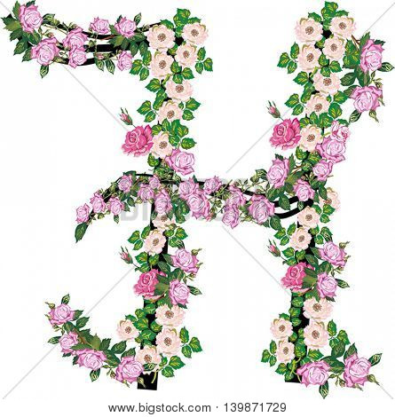 illustration with letter H from rose and brier flowers isolated on white background
