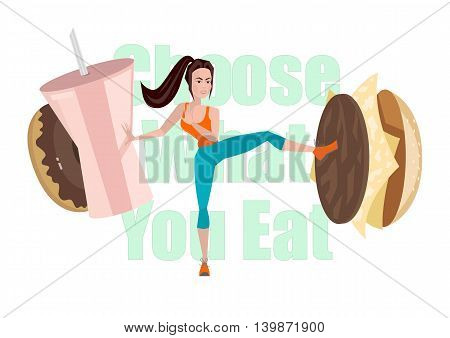 Vector Illustration Of Fitness Girl Struggling With Fast Food And Unhealthy Diet