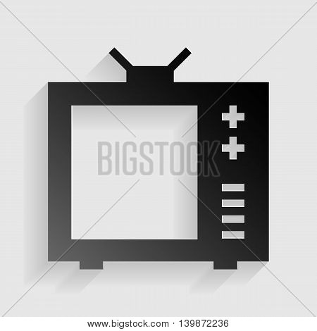 TV sign illustration. Black paper with shadow on gray background.