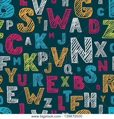 Hand Drawn Sketch Alphabet Seamless Pattern. Vector Multicolor Background.