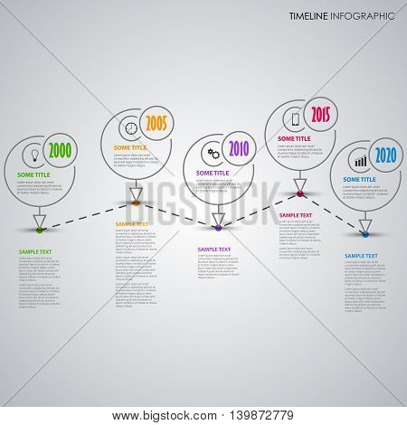 Time line info graphic with thin line pointer template vector eps 10