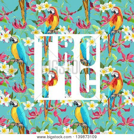 Tropical Flowers and Parrot Birds Exotic Background. Vector Banner. T-shirt Graphic Design