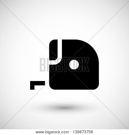 Tape measure icon isolated on grey. Vector illustration