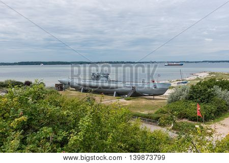 submarine from world war one on the beach of Laboe