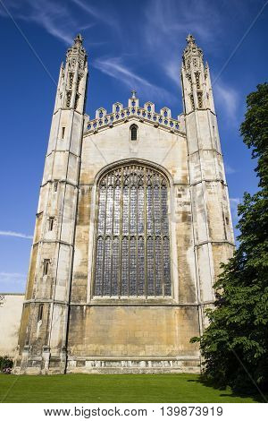 A view of the magnificent facade of Kings College Chapel in Cambridge UK.