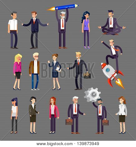Vector detailed characters, men and women in action. Business people shake hands, with a briefcase, secretary, big boss, startup man, colleagues
