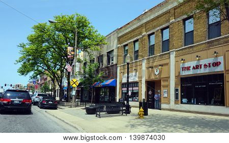 LA GRANGE, ILLINOIS / UNITED STATES - MAY 21, 2016: A view of the central business district in downtown La Grange, Illinois.