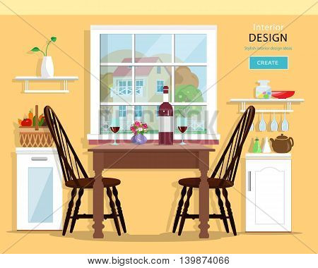Cute modern kitchen interior design with furniture: table, chairs, cupboards. Flat style vector illustration.