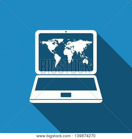Laptop with world map icon with long shadow. Adobe illustrator