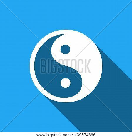 Yin Yang symbol icon with long shadow. Adobe illustrator