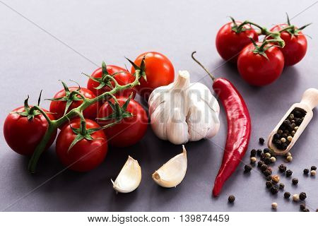 Garlic, Hot Chili, Tomatoes And Spices