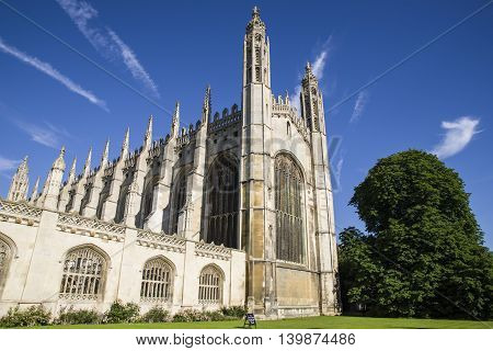 CAMBRIDGE UK - JULY 18TH 2016: A view of the impressive Kings College Chapel in Cambridge on 18th July 2016.