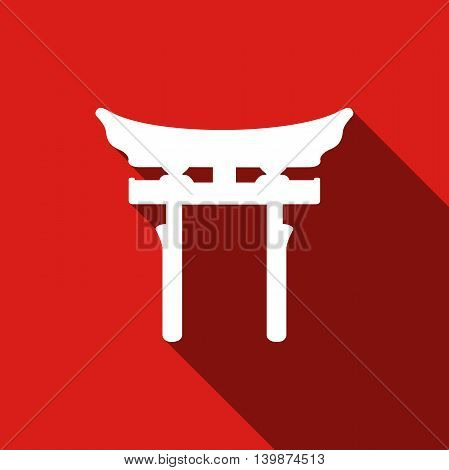 Japan Gate. Torii gate icon with long shadow. Adobe illustrator