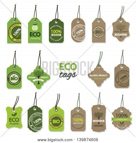 Eco bio organic labels and tags big set.