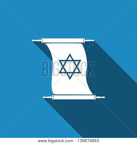Star of David on scroll icon with long shadow. Adobe illustrator
