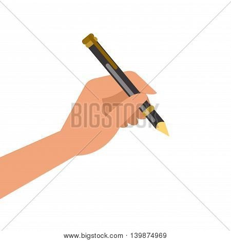 Hand holding pen and writing. Vector illustration