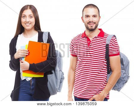 Happy students standing isolated on white background