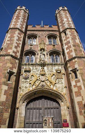 The impressive gatehouse at St John's College in Cambridge UK.