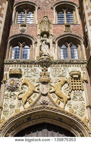 The impressively sculptured gatehouse at St John's College in Cambridge UK.