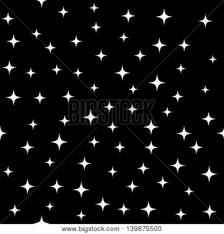 Star white seamless pattern. Fashion graphic background design. Modern stylish abstract texture. Monochrome template for prints textiles wrapping wallpaper website etc. VECTOR illustration