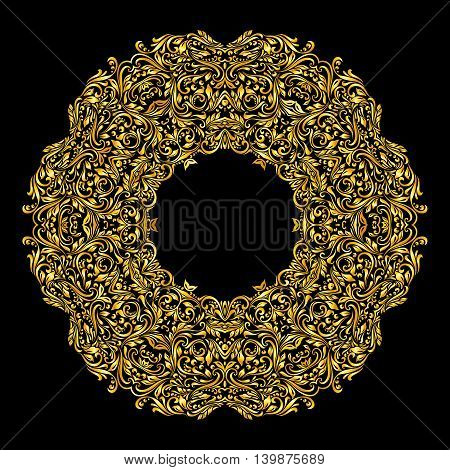 Vector gold element similar a collar on black background