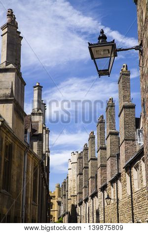 A row of old brick chimneys located on Trinity Street in Cambridge UK.