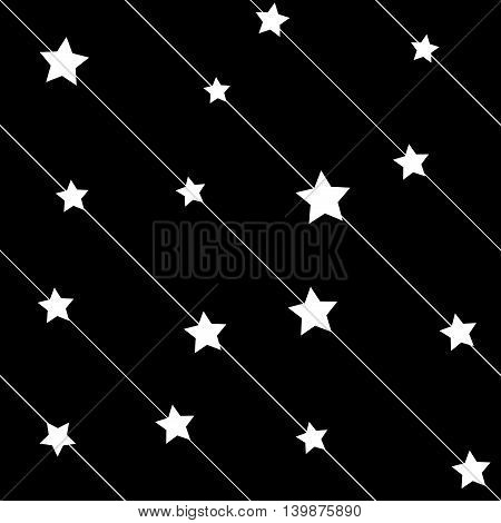 Stars white on line seamless pattern. Fashion graphic background design. Modern stylish abstract texture. Monochrome template for prints textiles wrapping wallpaper website etc VECTOR illustration