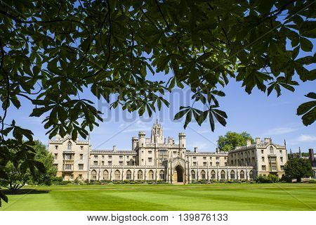 A view of the historic St. John's College in Cambridge UK.