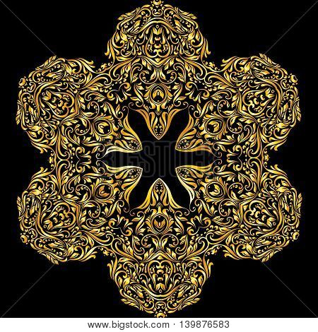 Vector gold element similar a flower on a black background