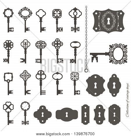 Vintage keys and keyholes set isolated on white.