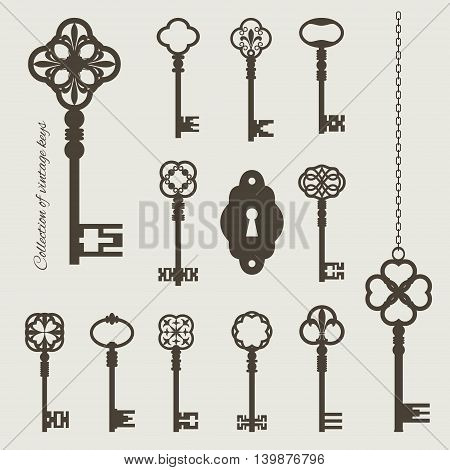 Collection of vintage keys and keyhole isolated on beige. Chain is grouped separately and can easily be combined with any key.