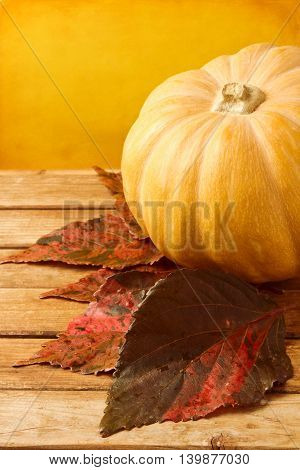 Pumpkin with autumn leaves on wooden table over yellow background