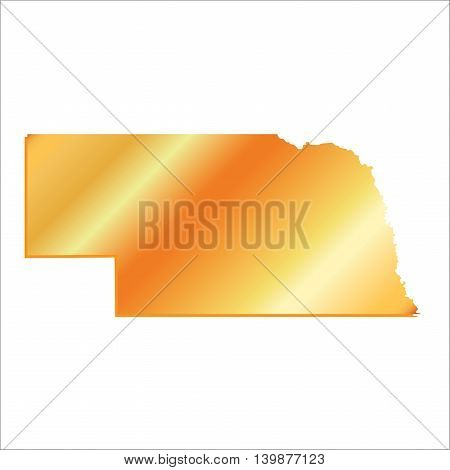 3D Nebraska (USA) Gold map with shadow