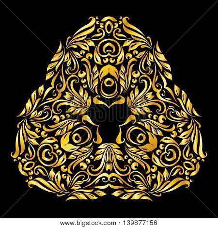 Vector gold ornate on a black background