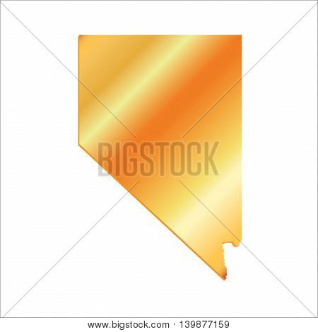 3D Nevada State USA Gold outline map