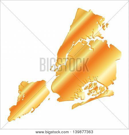 3D New York (USA) Gold map with shadow