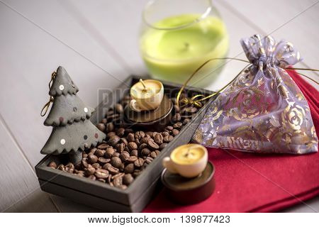 Coffee Beans, Candles On A Red Napkin