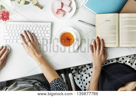 Women Friends Femininity Working Workspace Concept