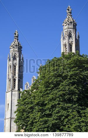 The architecture of the magnificent Chapel at King's College in Cambridge UK.