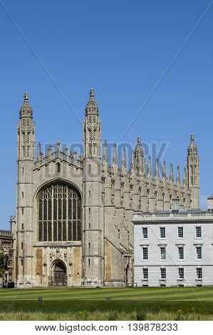 A view of the historic King's College Chapel in Cambridge UK.