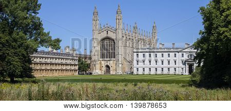 A panoramic view of the historic King's College in Cambridge UK.