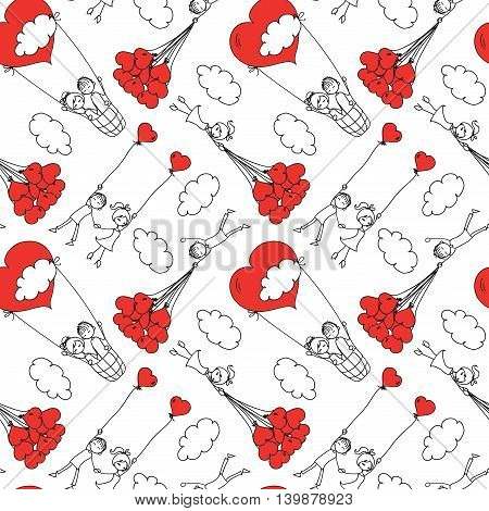 Vector super seamless pattern with doodle boy and girl in love.