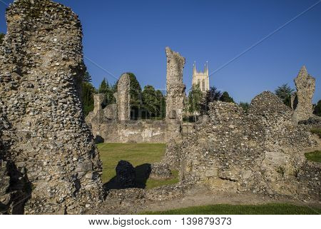 A view of the remains of Bury St Edmunds Abbey and St Edmundsbury Cathedral in Bury St. Edmunds Suffolk.