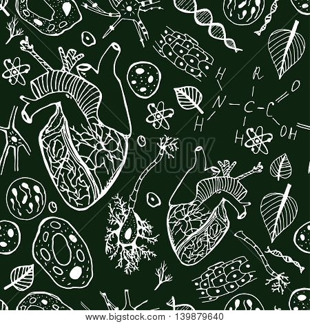 Handdrawn biological image. Editable vector illustration in black and white colors. Botany, biology handwriting with hearts, cells and molecules on a dark background. Seamless Pattern