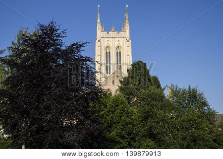 A view of St. Edmundsbury Cathedral from Abbey Gardens in Bury St Edmunds Suffolk.
