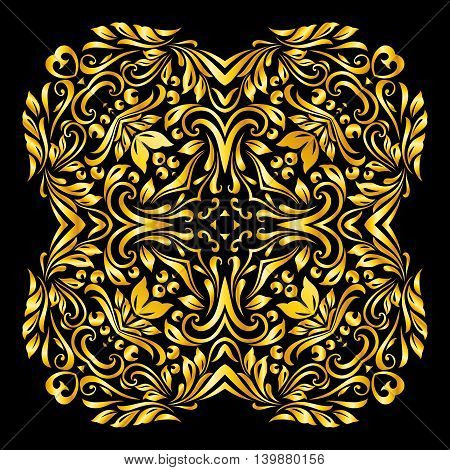 Vector gold element similar a flowers on black background